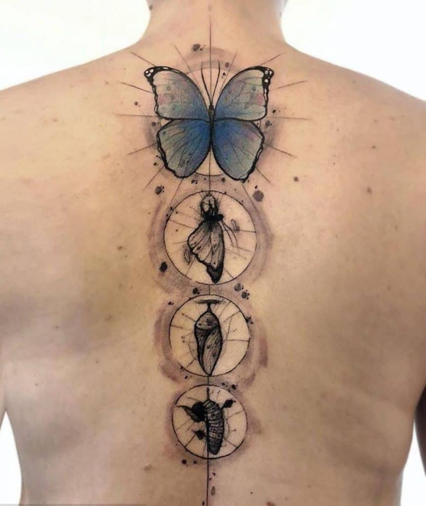 Caterpillar to Butterfly Tattoo