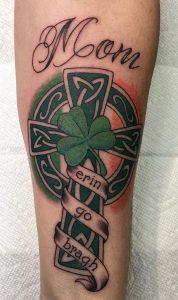 Celtic Cross with Shamrock Tattoo