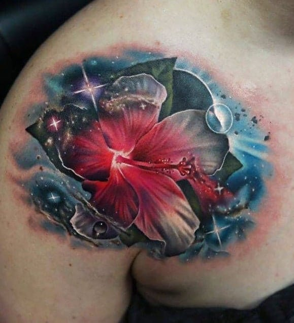 Colorful Hibiscus Tattoo