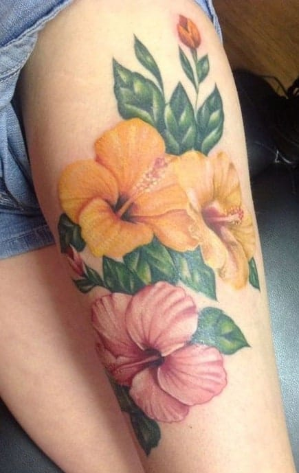 Color Hibiscus Tattoo