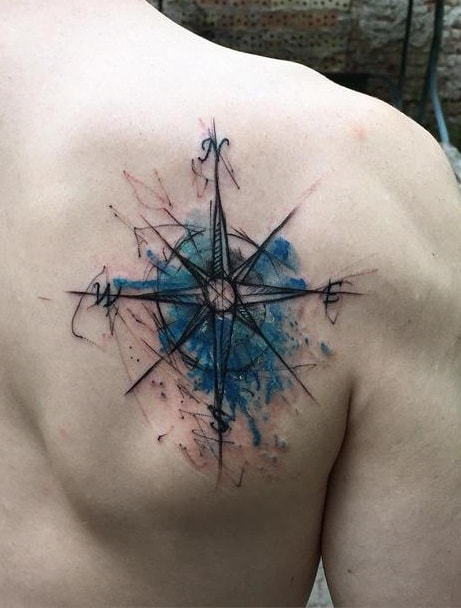 Compass Sketch Tattoo