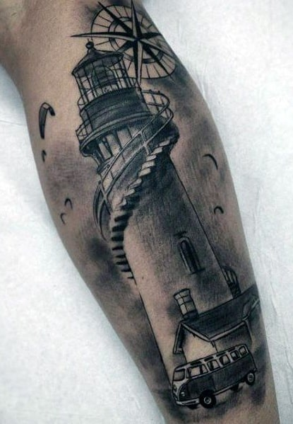 Compass and Lighthouse Tattoo