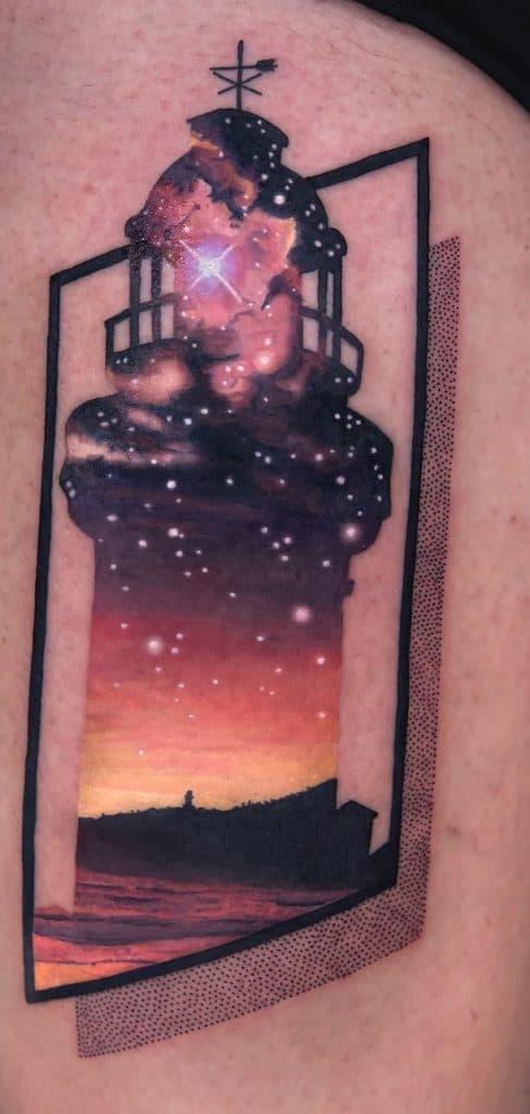 Contemporary Lighthouse Tattoo