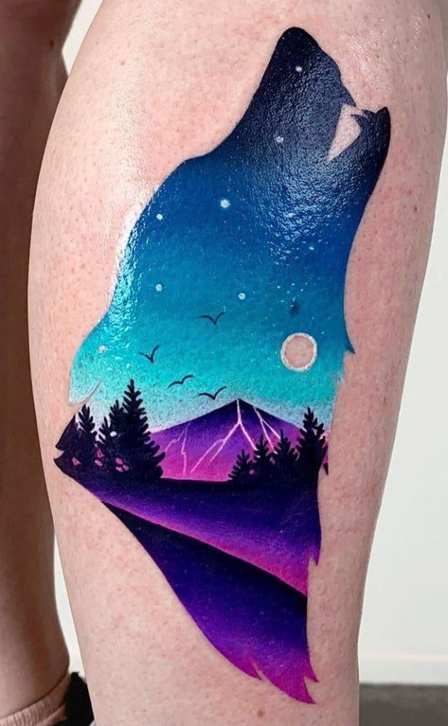 Contemporary Wolf Tattoo