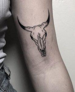 Blackwork Cow Skull Tattoo