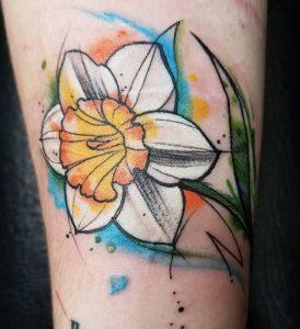 Daffodil Sketch Tattoo