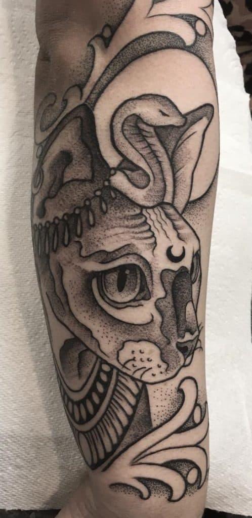 Dot-work Bastet Tattoo