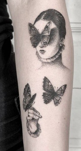 Dot-work Butterfly Tattoo