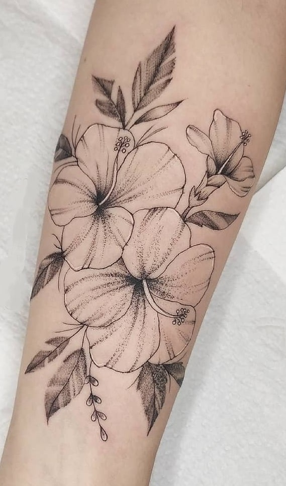 Dot-work Hibiscus Tattoo