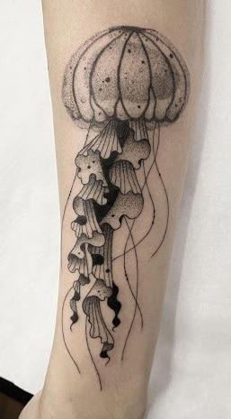 Dot-work Jellyfish Tattoo