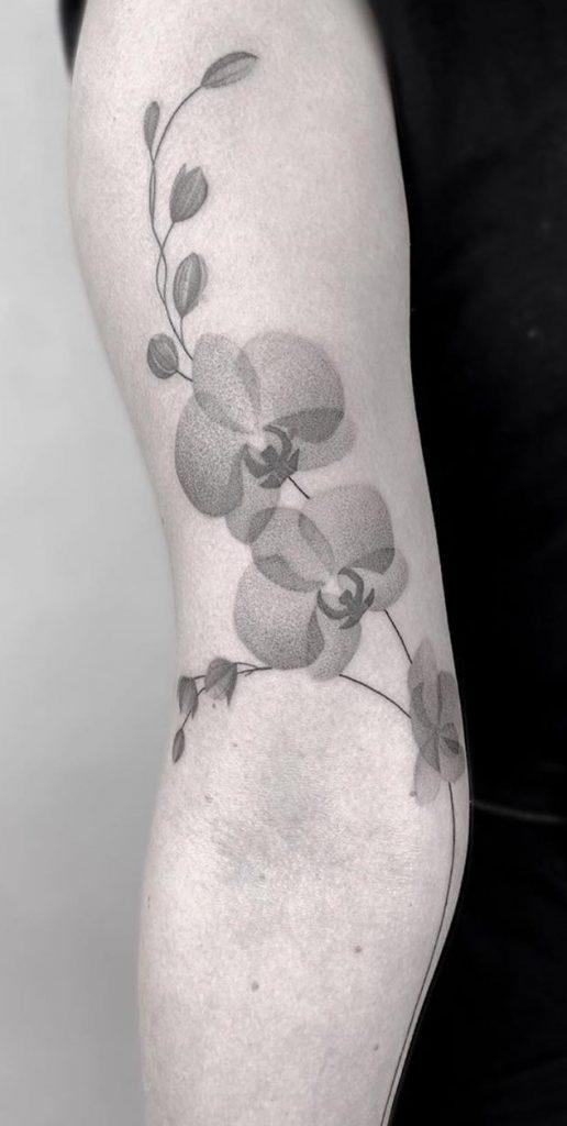 Dot-work Orchid Tattoo