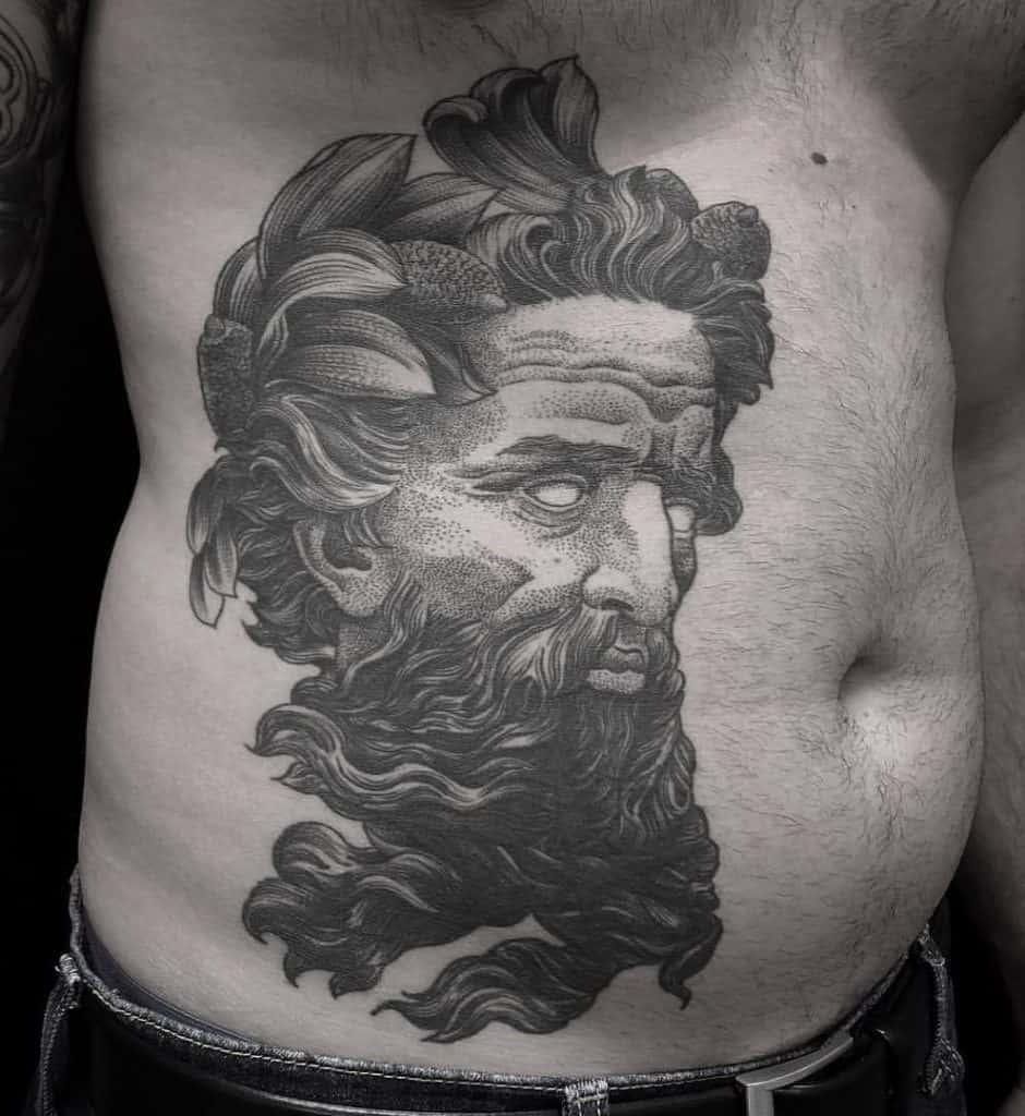 Dot-work Poseidon Tattoo