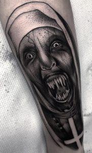 Dot-work Valak Tattoo
