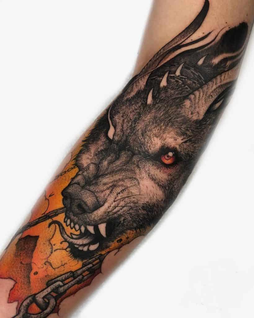 Dot-work Wolf Tattoo
