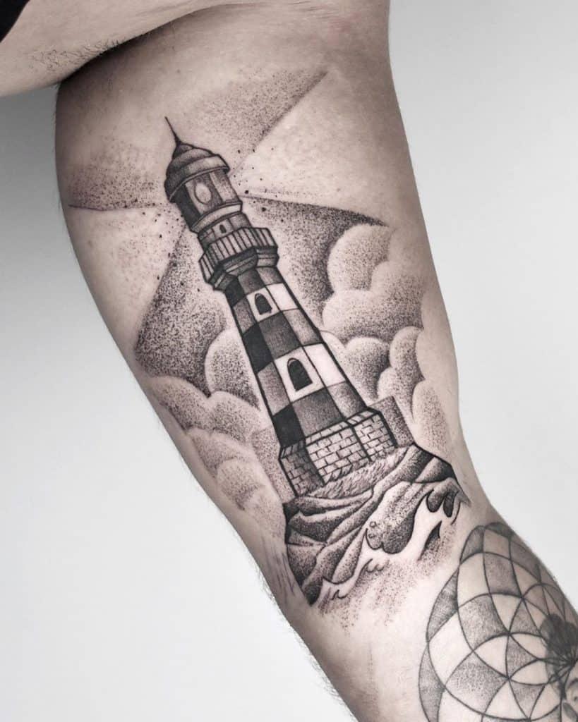 Dot-work Lighthouse Tattoo