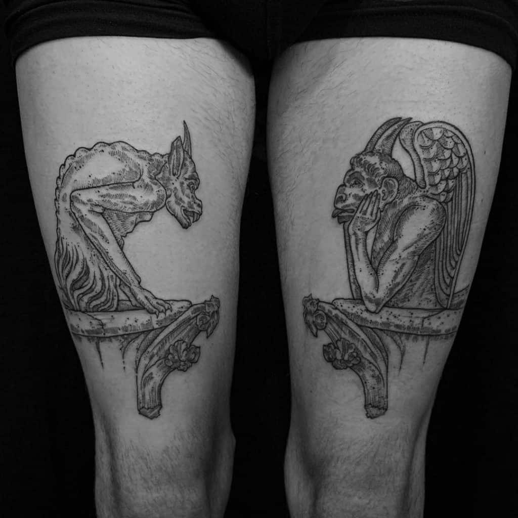 Double Gargoyles Tattoo