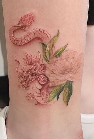 Dragon and Peony Tattoo