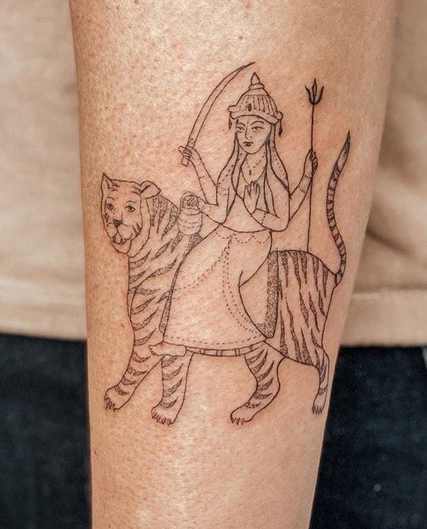 Durga and Tiger Tattoo