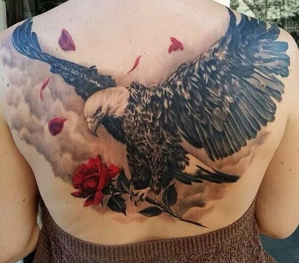 Eagle & Rose Tattoo