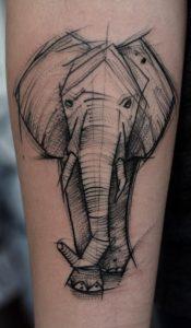 Elephant Head Sketch Tattoo