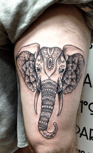 Elephant Head Tattoo On Thigh