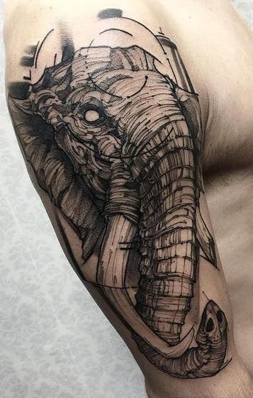 Etching Elephant Head Tattoos