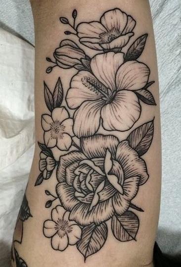 Etching Hibiscus Tattoo