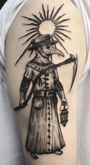Etching Plague Doctor Tattoo