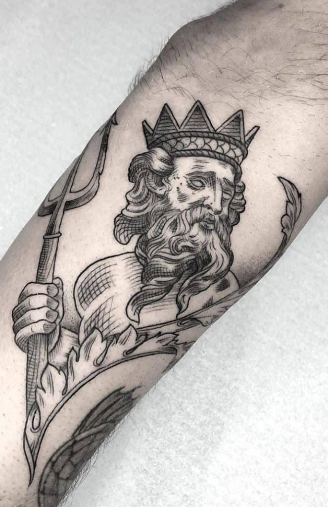 Etching Poseidon Tattoo