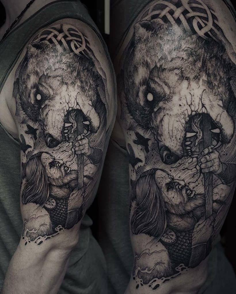 Fenrir Fighting Odin Tattoos
