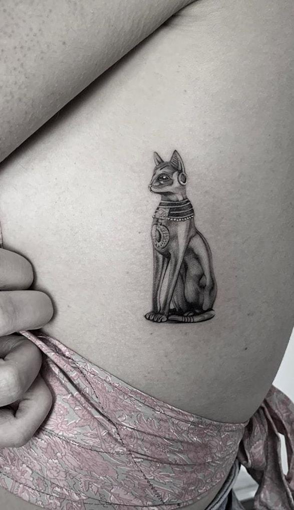 Fine Line Bastet Tattoo
