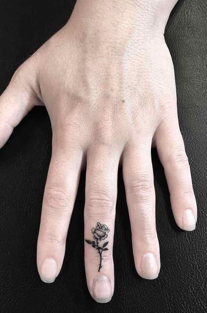Finger Rose Tattoo