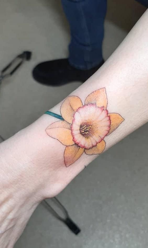 Forearm Daffodil Tattoo