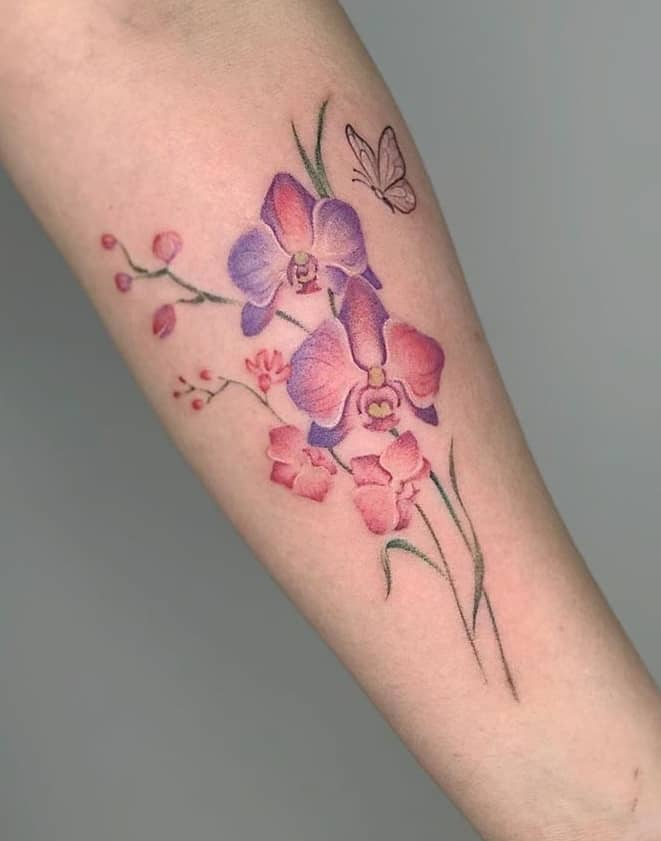 Forearm Orchid Tattoo