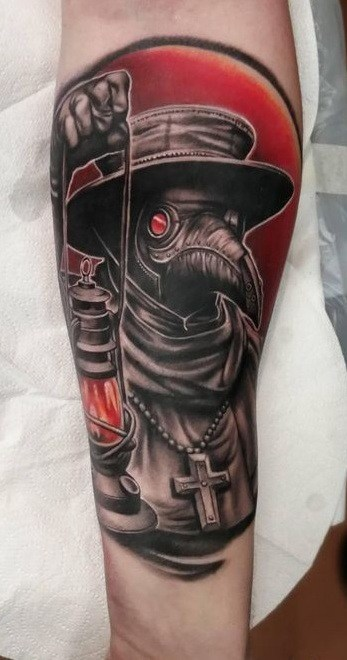 Forearm Plague Doctor Tattoo