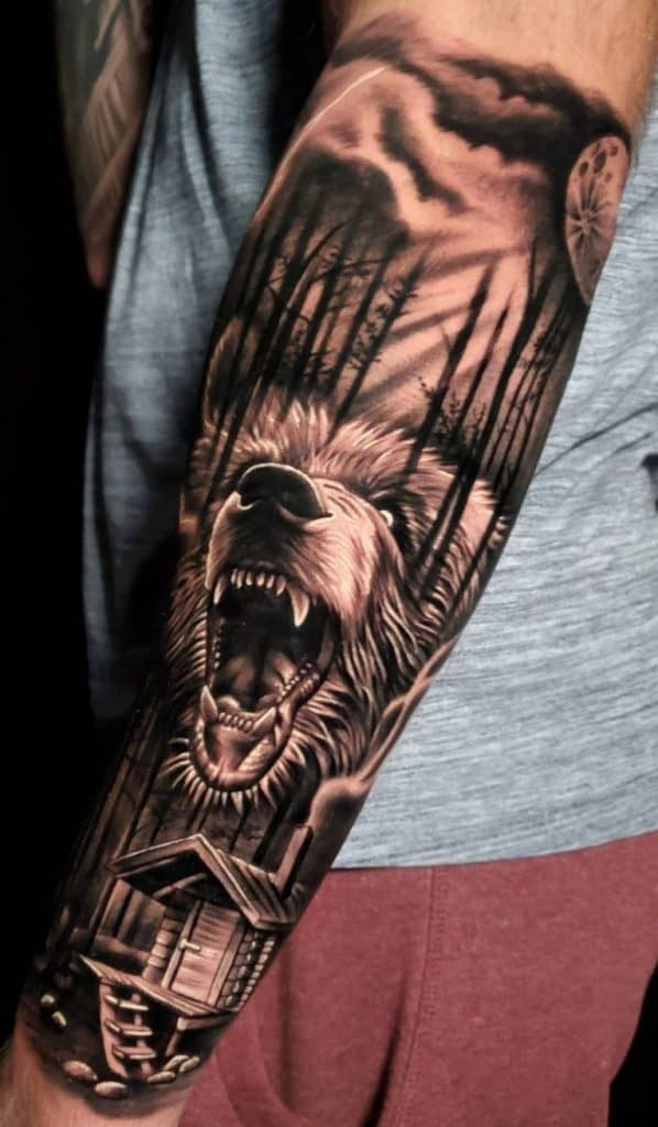 Forest and Bear Tattoo