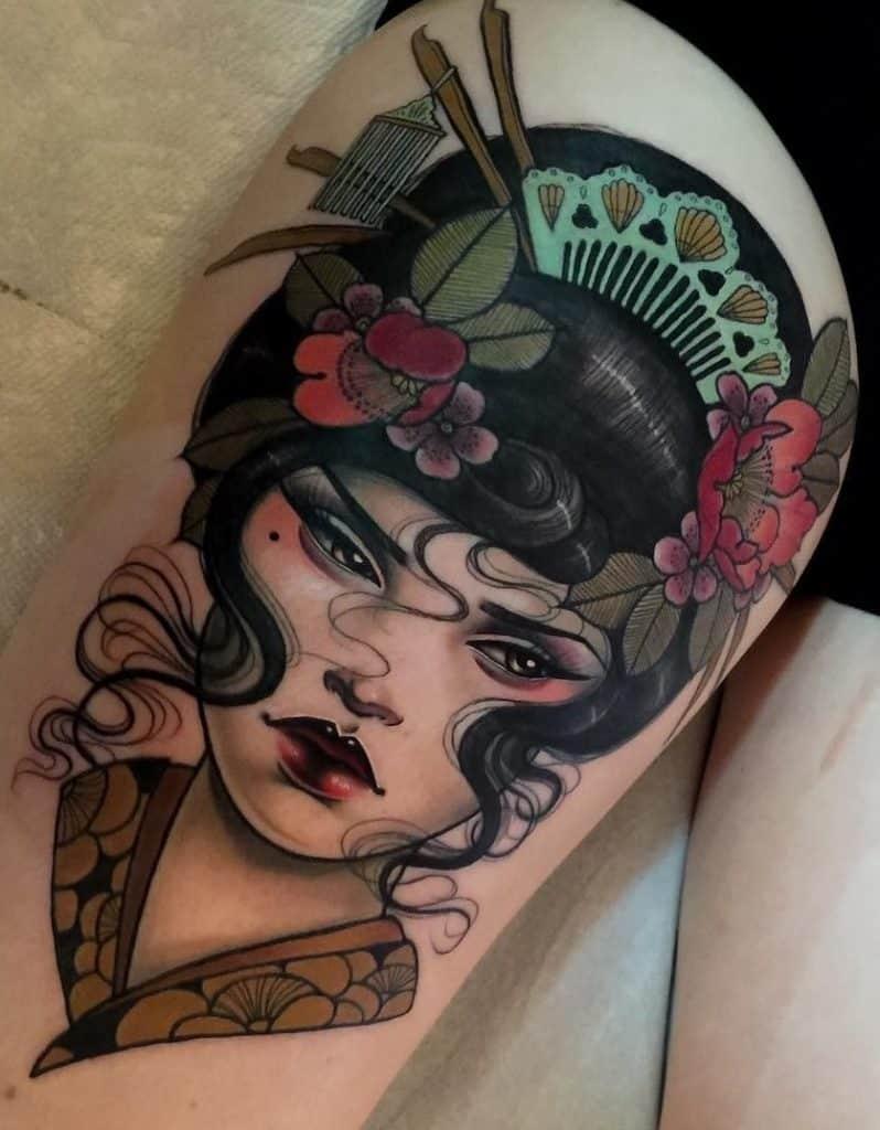 Geisha Tattoo on Thigh