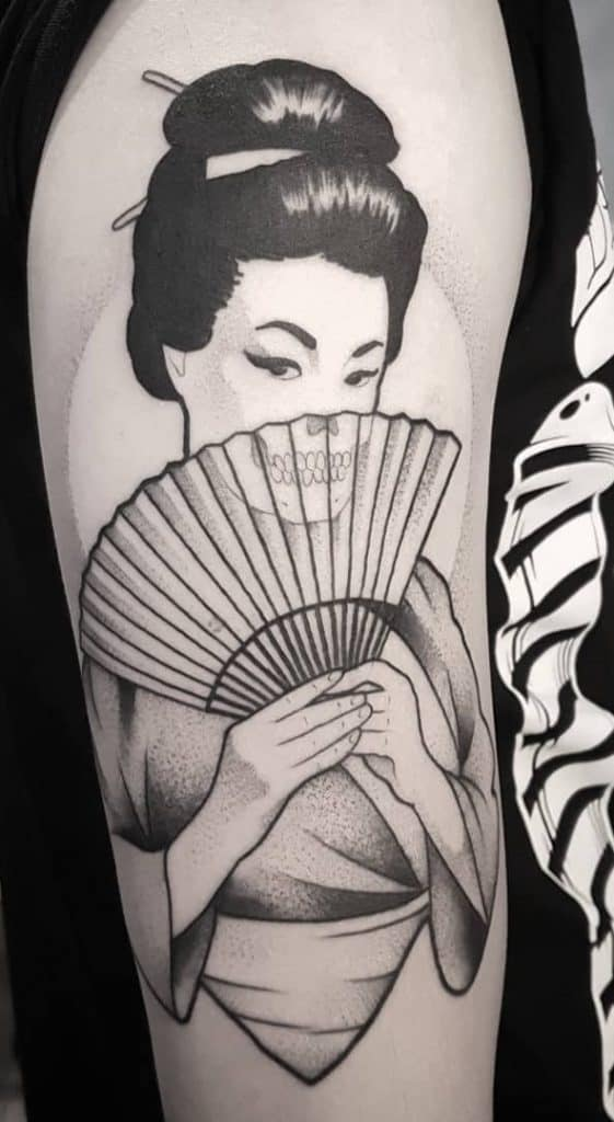 Geisha Tattoo on the Upper Arm