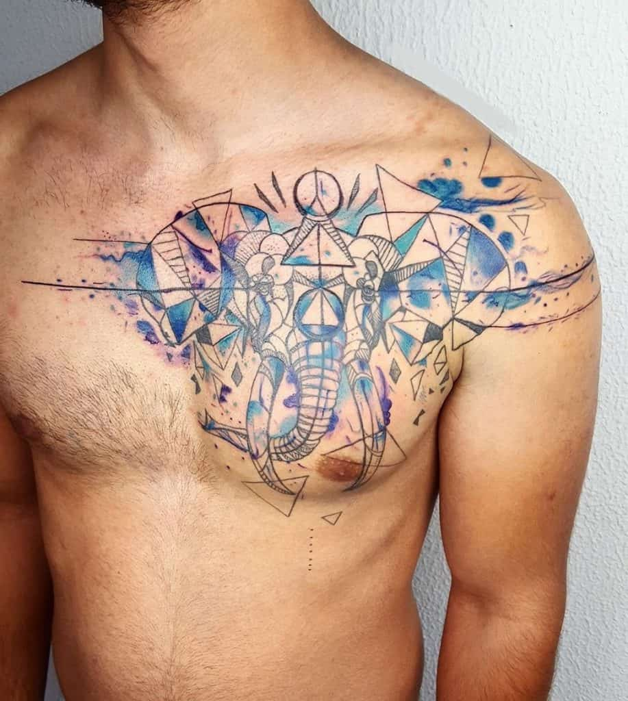 Geometric Elephant Head Tattoo