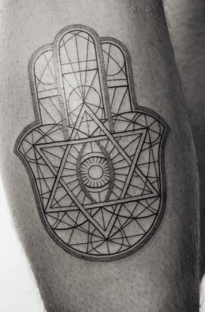 Geometric Hamsa Tattoo