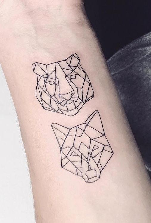 Geometric Tiger and Wolf Tattoo