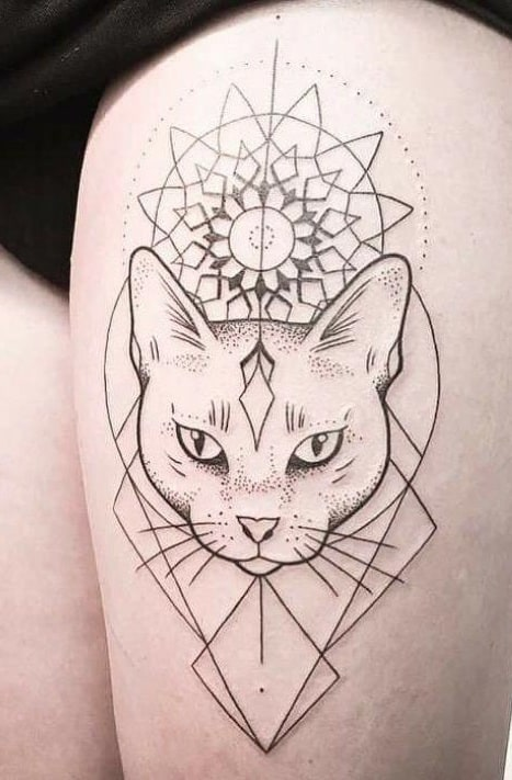 Graphic Bastet Tattoo
