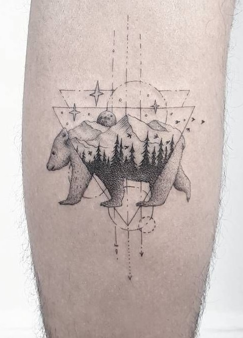 Graphic Bear Tattoo