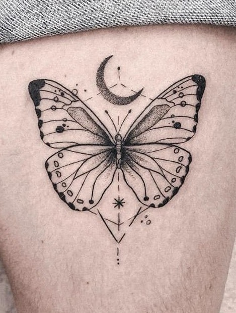 Graphic Butterfly Tattoo
