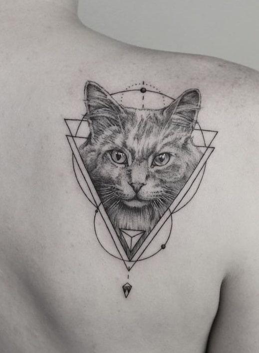 Graphic Cat Tattoo