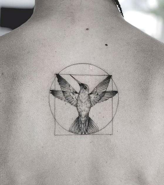 Graphic Hummingbird Tattoo