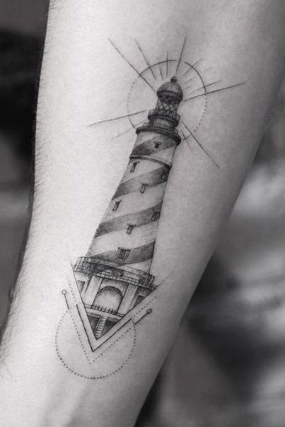 Graphic Lighthouse Tattoo