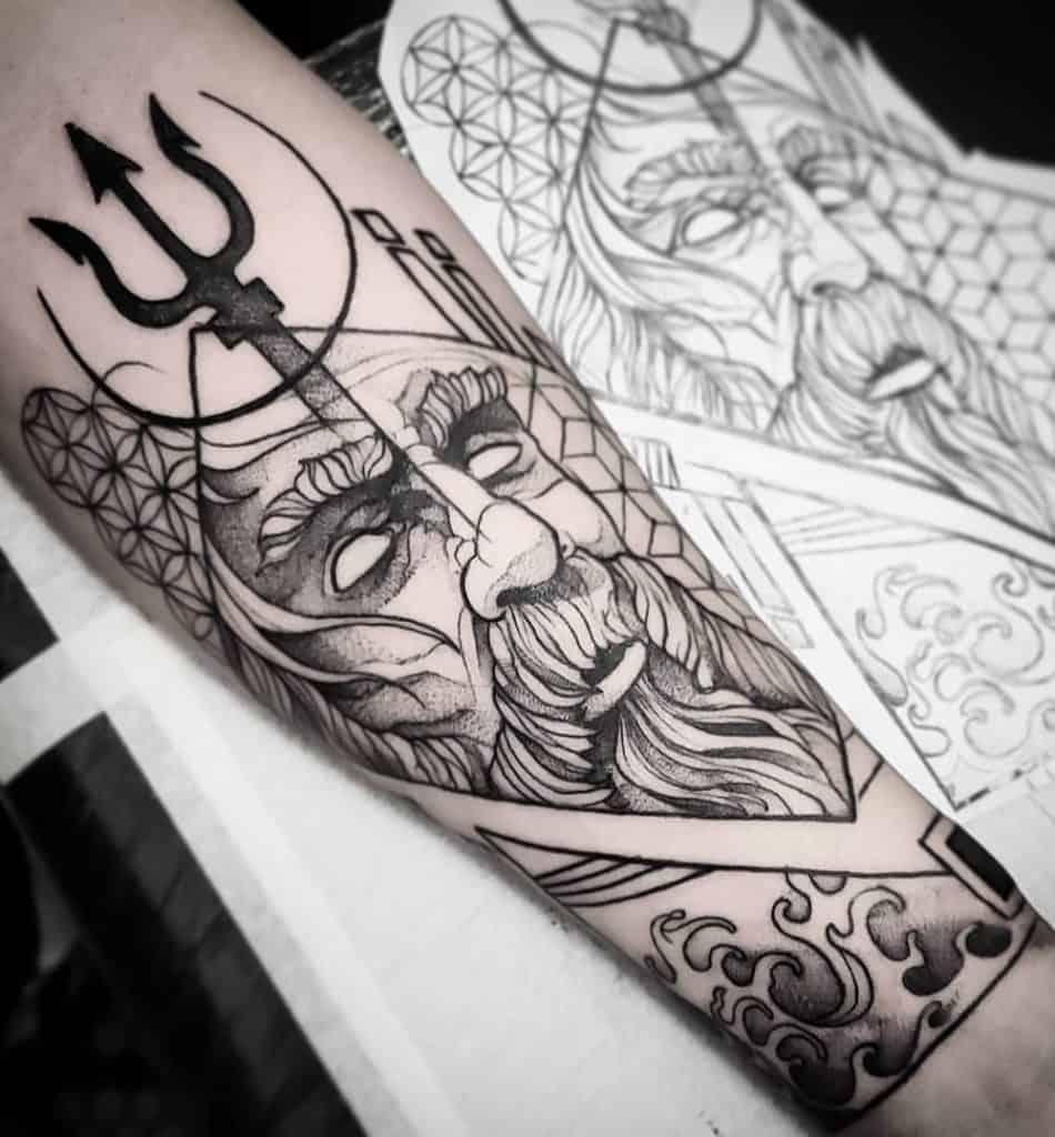 Graphic Poseidon Tattoo