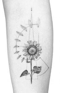 Graphic Sunflower Tattoo