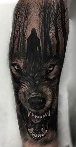 Growling Wolf Tattoo